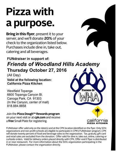 California Pizza Kitchen Restaurant Night Fundraiser!